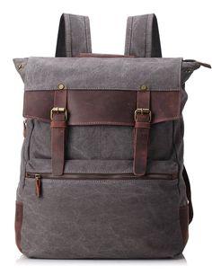 ZEKAR Vintage Waxed Canvas Leather Backpack, Multipurpose Daypacks for Men (M-Grey)