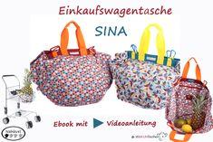 """**Die Einkaufswagentasche """"Sina""""** ist der ideale Begleiter beim Einkauf im Supermarkt. Tüten sind zum Glück """"out"""" und so braucht """"Frau"""" immer eine praktische und vor allem geräumige Tasche für den Einkauf. Die Tasche wird mit Hilfe der Karabinerhaken am Rand des Einkaufswagens befestigt, und so kann mit zwei """"freien"""" Händen die Ware ordentlich direkt in der Tasche verstaut werden. Ein Gummizug an der einen Seite passt sich der gefüllten Menge automatisch an. Die Seite mit den Trägern ist…"""