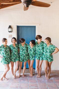 Photography: @brandonkiddphoto ~ Possibly the BEST bridesmaid gift idea - Piyama Maggie Pajama Sets in Banana Leaf / Palm Leaf $49 ~ Shop the Piyama Bridal Boutique: www.etsy.com/au/shop/Piyama