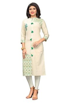 A melange of timeless tradition and contemporary style, this kurti is brought to you by the popular brand. Its kurti is Straight has Beautiful Embroidery and Print, Collar Neck, Three Fourth Sleeves that adds to its design. Jacket Style Kurti, Indian Tunic Tops, Angrakha Style, Lounge, Printed Kurti, Made Clothing, Off White Color, White Tops, Types Of Sleeves