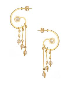 Dangler Earrings With Pearls And CZ    Buy Designer & Fashion Earrings Online