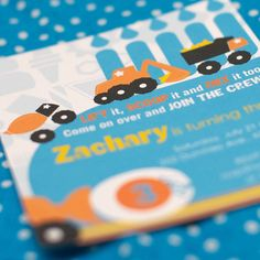 Construction Truck Party Invitation by SpaceshipsLaserBeams, $12.00