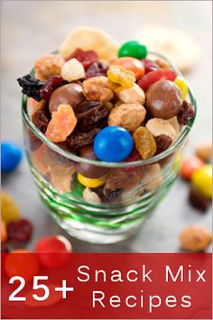 Awesome... 25+ Snack Mixes  Munchies For Casual Entertaining ~ here are over two dozen tasty recipes that are a hit for movie nights, children's parties, tailgating and casual entertaining…some sweet, some spicy and all crunchy…lots to choose from! These are great for gift-giving…simply package in jars, boxes or bags, add a bit of decorative ribbon and label.