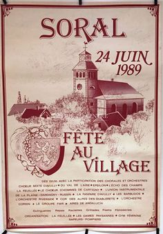 GENÈVE Soral signé Eric Wuarin Fête au Village 24 juin 1989 Signs, Mood Boards, Movie Posters, Ebay, June 24, Choir, Switzerland, Posters, Film Poster