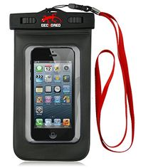 awesome GeckoRed Outdoor Waterproof Cell/Mobile Phone Pouch/Case, IPX8 Certified to 100 Feet, For Apple iPhone 6, 5s, 5, 4s, 4, 3 Galaxy S5, S4 S3, Galaxy Note 3, and other phone models, also includes a lanyard.