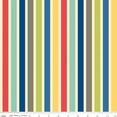 Bright Red Yellow and Blue Stripe Fabric, Seaside by October Afternoon for Riley Blake, Stripe Print in Red, 1 Yard. $8.35, via Etsy.