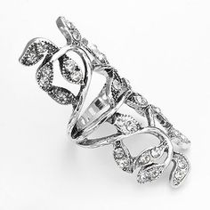 Mudd Silver Tone Simulated Crystal Floral Full-Finger Ring