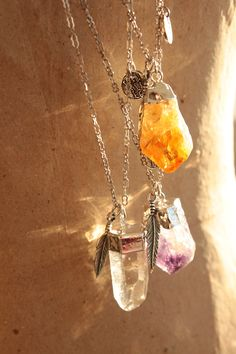 Citrine, amethyst, and clear quartz crystal gemstones on sterling silver necklaces. Citrine Gemstone, Gemstone Necklace, Amethyst Quartz, Crystals And Gemstones, Stones And Crystals, Estilo Hippie, Clear Quartz Crystal, Crystal Magic, Looks Vintage
