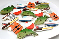 Such totally awesome fishing cookies! Fish Cookies, Fancy Cookies, Cute Cookies, Royal Icing Cookies, Cupcake Cookies, Sugar Cookies, Cupcakes, Camping Cookies, Fisher