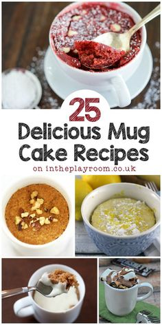 I have to try these 25 mug cake recipes, so many different varieties from nutella mug cakes to lemon mug cake. The apple and cinnamon mug cake with frosting is my favourite! (healthy sweet treats mug cakes) Microwave Mug Recipes, Mug Cake Microwave, Baking Recipes, Cake Recipes, Dessert Recipes, Recipe For Mug Cakes, Easy Cake In A Cup Recipe, Steak Recipes, Microwave Cookies