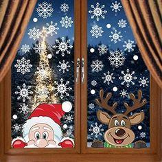 Christmas Window Display Home, Xmas Window Decorations, Christmas Window Stickers, Outdoor Christmas Decorations, Christmas Crafts For Kids, Xmas Crafts, Christmas Pebble Art, Christmas Canvas, Christmas Drawing