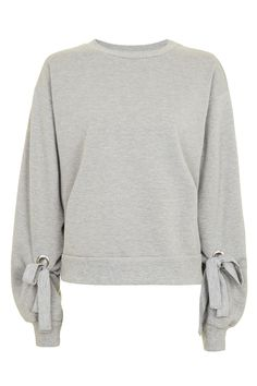 Tie Sleeve Blouson Sweat Top - Tops - Clothing - Topshop