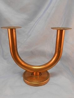 Art Deco Chase Taurex Copper Candle Holder Walter Von Nessen