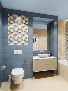 Ванная комната в дизайн-проекте 1-комнатной квартиры