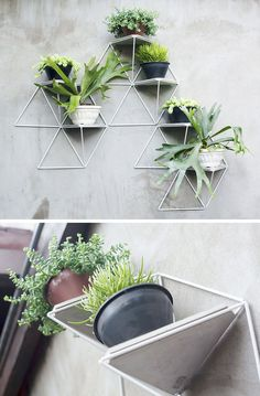 This modular wall planter system can be used inside or out and allows you to create a garden of whatever size you want, and adds a geometric touch wherever you hang it.