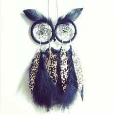 Black & Gold Owl Dream Catcher