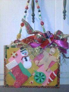 Ugly Christmas Sweater Cigar box purse. By Cyndi Greer