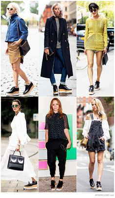 Style Bloggers and Fashion Insiders wearing black Stella McCartney Britt Faux Glossed-Leather Platform Brogues