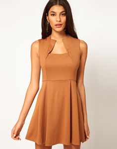 ASOS square-neck flared dress in cinnamon