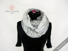 Gorgeous Reversible Premium Nursing Scarf - Gray Knit Eyelet / Floral Print - Infinity Scarf & Breastfeeding Cover from the Flor Collection by EmilyJeanneDesigns on Etsy