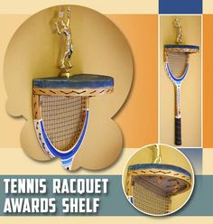11 Ways to Repurpose a Tennis Racquet. Slice and dice an old racquet and turn it into an awards shelf.  Such a clever and fun way to display a trophy!