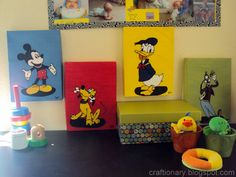 Mickey Mouse Bedroom ~ Decorations ~ Colored shoe box tops.