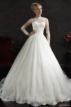 amelia sposa 2015 bridal nubia long sleeve ball gown wedding dress