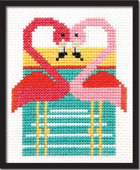 Retro Pink Flamingoes Cross Stitch Pattern Instant Download