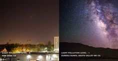 Take a look at these different locations with progressively lower levels of light pollution.
