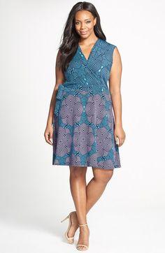 Taylor Dresses Print Jersey & Scuba Knit Faux Wrap Dress
