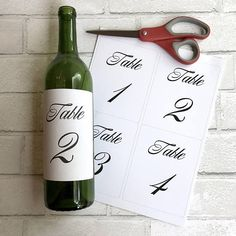 Printable table numbers wine bottle label stickers script we Wine Bottle Centerpieces, Wedding Wine Bottles, Wedding Table Centerpieces, Wedding Table Numbers, Diy Wedding Decorations, Decor Wedding, Table Decorations, Birthday Decorations, Wedding Cards