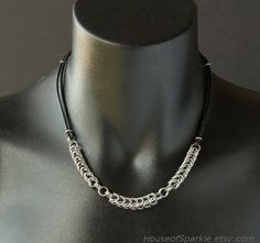 Man's necklace. Chainmaille stainless steel leather necklace by HouseofSparkle.etsy.com