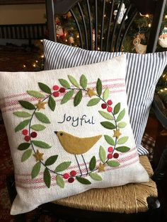 Joyful Pillow pattern -- easy wool applique. Pattern by Black Mountain Needleworks.