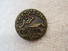 Vintage Cottage w Tree & Grass Picture Button 3/4 In Coppery Tone Metal