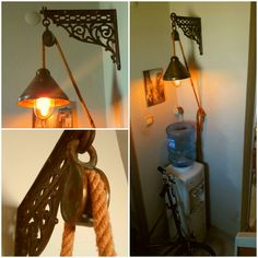 Vintage wall mount lighting-  Endüstriyel makaralı aydinlatma- geri dönüşüm malzemeden aydınlatma