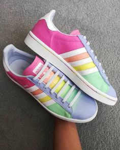 The sherbet vibes are strong with this one 🔥customs by @paintplaybychey using #Jacquardpaints 🍡🍦😎 Adidas Gazelle, Custom Sneakers, Adidas Superstar, Adidas Sneakers, Strong, Shoes, Fashion, Moda, Shoe