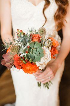 orange and green bouquet - photo by Morgan Trinker http://ruffledblog.com/irish-themed-wedding-in-nashville