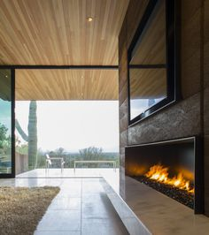 Fireplace1  Single Storey Hillside Residence Exhaling Simple Sophistication in Paradise Valley, Arizona