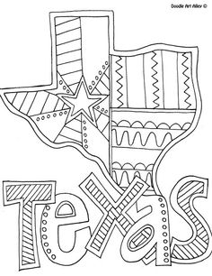 texas coloring page from doodle art alley