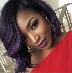 Love this purple bob on Plum Hair, Purple Hair, Purple Bob, Medium Short Hair, Short Curly Hair, Natural Hair Styles, Short Hair Styles, Heart Hair, Thing 1
