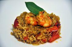 Varomeando: Arroz al curry con langostinos