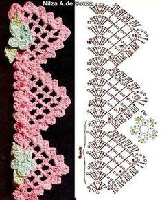 Crochet Borders Crochet edging with graph pattern Crochet Edging Patterns, Crochet Lace Edging, Crochet Diy, Crochet Motifs, Crochet Borders, Crochet Diagram, Lace Patterns, Crochet Chart, Thread Crochet