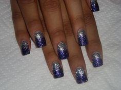 Grey and purple glitter Nails - Nail Art