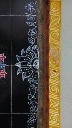 SreeVeera's border rangoli Rangoli Borders, Rangoli Border Designs, Small Rangoli Design, Colorful Rangoli Designs, Rangoli Patterns, Rangoli Ideas, Rangoli Designs Diwali, Beautiful Rangoli Designs, Kolam Designs