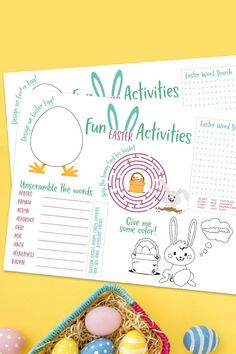 A free printable Easter placemat for kids. Great for meal time or school parties including tic-tac-toe, a maze, color the bunny, and word scramble. Print as many copies as you need for a fun Easter kids activity that all ages will enjoy. Activities To Do With Toddlers, Easter Activities For Kids, Fun Activities, Easter Crafts For Kids, Toddler Crafts, Easter Placemats, Easter Colouring, Diy Projects For Kids, Holidays With Kids