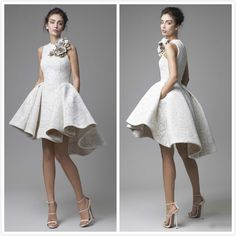 Barato 2016 alta baixa Prom vestidos Jewel mangas Lace Krikor Jabotian vestido A   linha Formal vestidos curtos Prom vestidos com flores, Compro Qualidade Vestidos de Noite diretamente de fornecedores da China:
