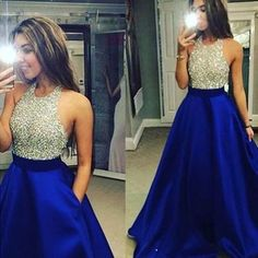 Royal Blue Satin Prom Dress,Halter Prom Dress,Long Evening
