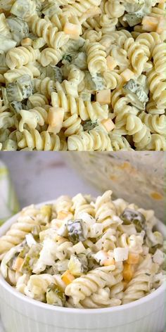 Easy Pasta Salad Recipe, Easy Pasta Recipes, Appetizer Recipes, Dill Pickle Pasta Salad Recipe, Macaroni Salad Recipe With Pickles, Simple Macaroni Salad, Pasta Salad With Chicken, Dill Pickle Recipes, Cold Pasta Salads
