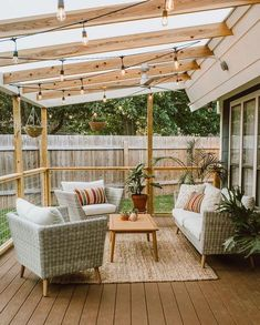 You don't need to travel far for a relaxing outdoor retreat. Turn your backyard into a beautiful oasis with one of these pergola ideas. We found free pergola plans, as well as fun decorating ideas for existing patio and porch covers. Small Patio Design, Outdoor Patio Designs, Small Backyard Patio, Pergola Patio, Diy Patio, Outdoor Decor, Outdoor Projects, Outdoor Rugs, Outdoor Living