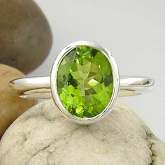 14K White Gold Large Green Peridot Solitaire Ring- 10mm x 8mm Oval Size - Made to order in your ring size by ChadaSoph on Etsy